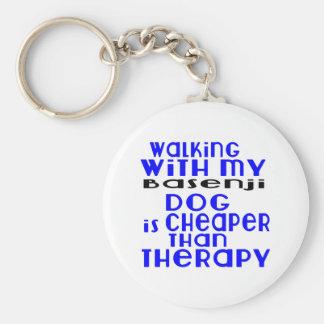 Walking With My Basenji Dog Designs Basic Round Button Keychain