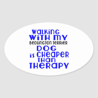 Walking With My Bedlington Terrier Dog Designs Oval Sticker