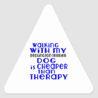 Walking With My Bedlington Terrier Dog Designs Triangle Sticker