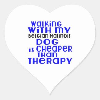 Walking With My Belgian Malinois Dog Designs Heart Sticker