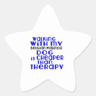 Walking With My Belgian Malinois Dog Designs Star Sticker