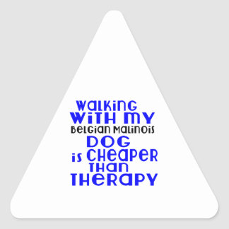 Walking With My Belgian Malinois Dog Designs Triangle Sticker