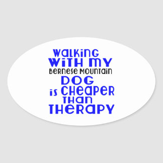 Walking With My Bernese Mountain Dog Dog Designs Oval Sticker