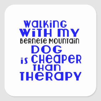 Walking With My Bernese Mountain Dog Dog Designs Square Sticker