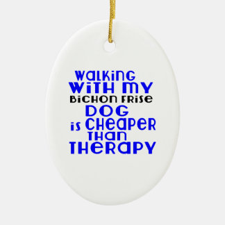 Walking With My Bichon Frise Dog Designs Ceramic Oval Ornament