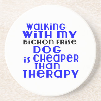 Walking With My Bichon Frise Dog Designs Coaster