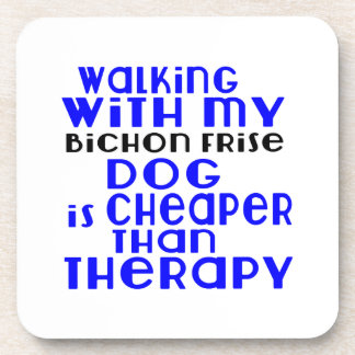 Walking With My Bichon Frise Dog Designs Drink Coasters