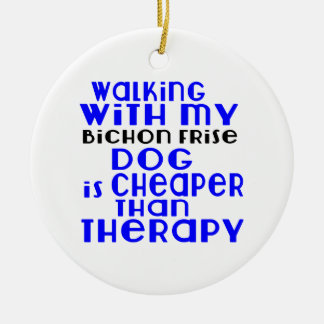 Walking With My Bichon Frise Dog Designs Round Ceramic Ornament
