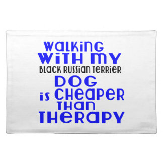 Walking With My Black Russian Terrier Dog Designs Placemat