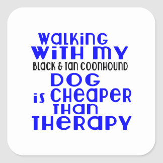 Walking With My Black & Tan Coonhound Dog Designs Square Sticker