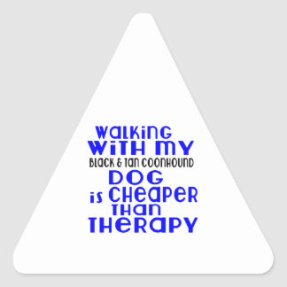Walking With My Black & Tan Coonhound Dog Designs Triangle Sticker
