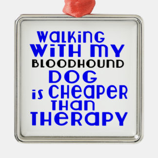 Walking With My Bloodhound Dog Designs Silver-Colored Square Ornament