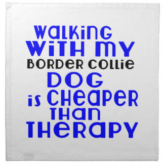 Walking With My Border Collie Dog Designs Napkin