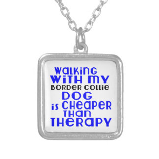 Walking With My Border Collie Dog Designs Silver Plated Necklace