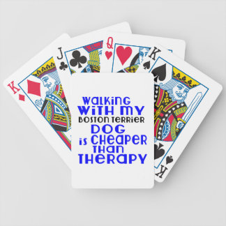 Walking With My Boston Terrier Dog Designs Bicycle Playing Cards