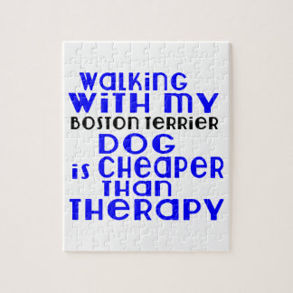 Walking With My Boston Terrier Dog Designs Puzzles