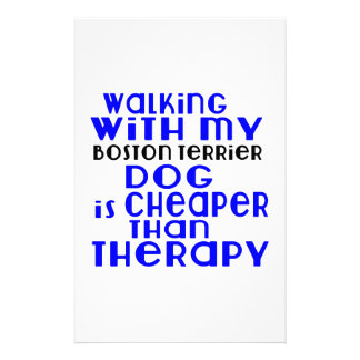 Walking With My Boston Terrier Dog Designs Stationery