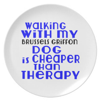Walking With My Brussels Griffon Dog Designs Dinner Plate