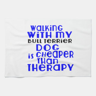 Walking With My Bull Terrier Dog Designs Hand Towels
