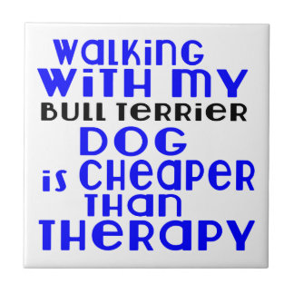 Walking With My Bull Terrier Dog Designs Tile