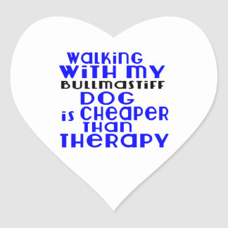 Walking With My Bullmastiff Dog Designs Heart Sticker