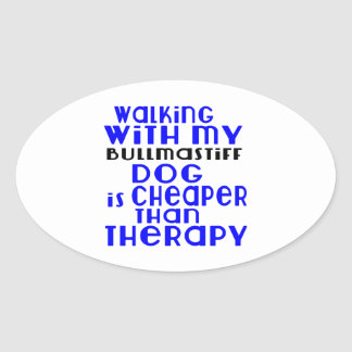 Walking With My Bullmastiff Dog Designs Oval Sticker