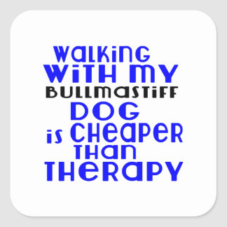 Walking With My Bullmastiff Dog Designs Square Sticker