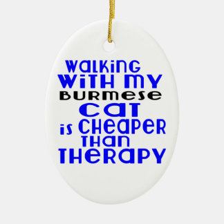 Walking With My Burmese Cat Designs Ceramic Oval Ornament