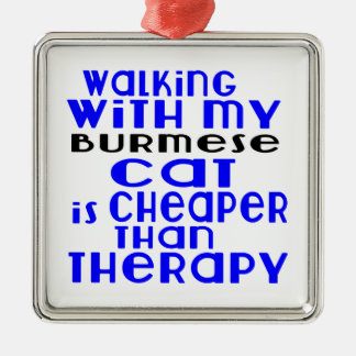 Walking With My Burmese Cat Designs Silver-Colored Square Ornament