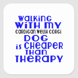 Walking With My Cardigan Welsh Corgi Dog Designs Square Sticker