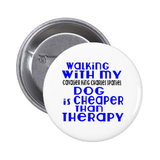 Walking With My Cavalier King Charles Spaniel Dog 2 Inch Round Button