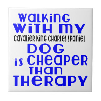 Walking With My Cavalier King Charles Spaniel Dog Tile