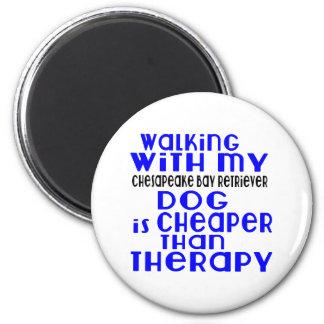 Walking With My Chesapeake Bay Retriever Dog Desig 2 Inch Round Magnet