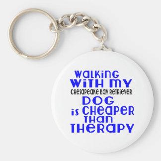 Walking With My Chesapeake Bay Retriever Dog Desig Basic Round Button Keychain