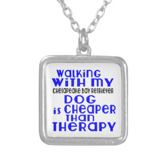 Walking With My Chesapeake Bay Retriever Dog Desig Silver Plated Necklace