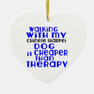 Walking With My Chinese Sharpei Dog Designs Ceramic Heart Ornament