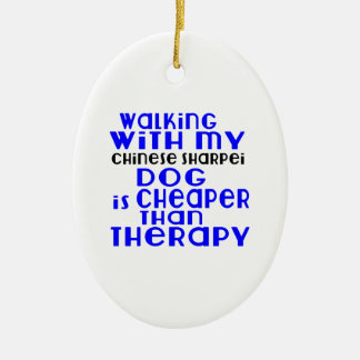 Walking With My Chinese Sharpei Dog Designs Ceramic Oval Ornament