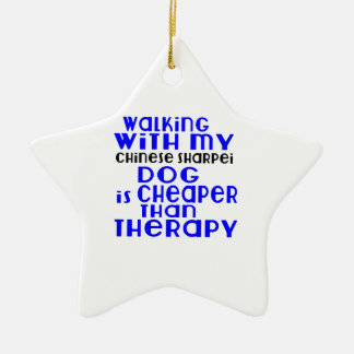 Walking With My Chinese Sharpei Dog Designs Ceramic Star Ornament