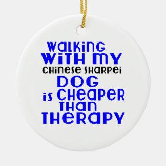 Walking With My Chinese Sharpei Dog Designs Round Ceramic Ornament