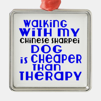 Walking With My Chinese Sharpei Dog Designs Silver-Colored Square Ornament