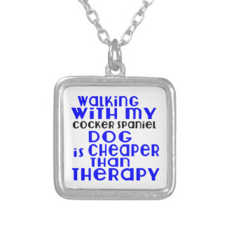 Walking With My Cocker Spaniel Dog Designs Silver Plated Necklace