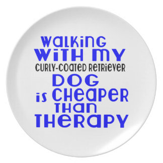 Walking With My Curly-Coated Retriever Dog  Design Plate