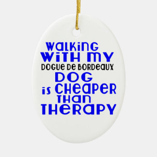 Walking With My Dogue de Bordeaux Dog  Designs Ceramic Oval Ornament