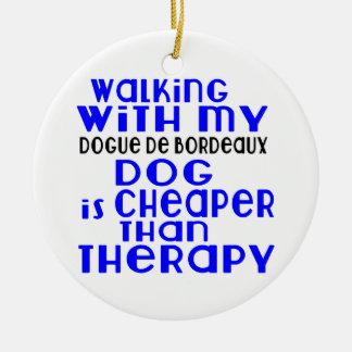 Walking With My Dogue de Bordeaux Dog  Designs Round Ceramic Ornament