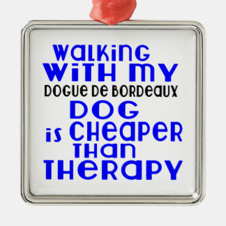 Walking With My Dogue de Bordeaux Dog  Designs Silver-Colored Square Ornament