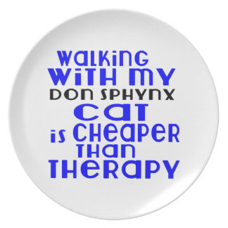 Walking With My Don Sphynx Cat Designs Dinner Plate