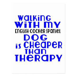 Walking With My English Cocker Spaniel Dog  Design Postcard