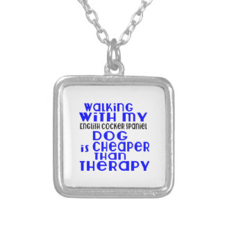 Walking With My English Cocker Spaniel Dog  Design Silver Plated Necklace