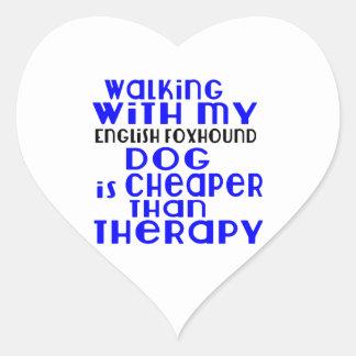 Walking With My English Foxhound Dog  Designs Heart Sticker