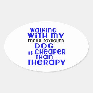 Walking With My English Foxhound Dog  Designs Oval Sticker